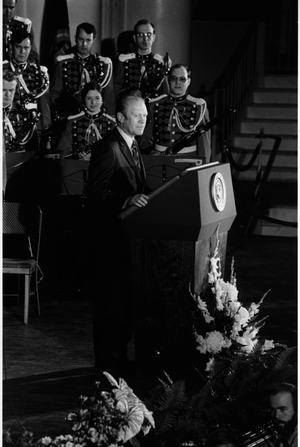 President Ford addresses the 63rd Annual Meeting of the U.S. Chamber of Commerce at Constitution Hall. April 28, 1975.