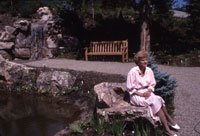 The former First Lady sits in the Betty Ford Alpine Gardens, created in honor of her strong support of and contributions to the Vail Valley community. August 1989.