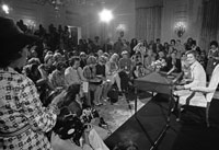 Betty Ford hosts her first press conference as First Lady in the White House State Dining Room. September 4, 1975