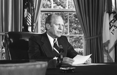 President Ford announcing his pardon of Richard Nixon from the Oval Office