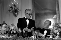 Italian President Giovanni Leone makes remarks at a State Dinner held in his honor during the State Visit of the President and Mrs. Leone.  State Dining Room, White House.  September 25, 1974