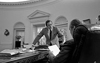 President Ford and Chief of Staff Donald Rumsfeld in the Oval Office. September 29, 1974