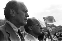 In his first foreign trip President Ford meets with Mexican President Luis Echeverria in a stopover visit at the Nogales, AZ/Nogales, Mexico border. October 21, 1974.