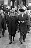 President Ford and Soviet General Secretary Leonid I. Brezhnev depart from the train upon their arrival at the Okeansky Sanatorium. November 23, 1974.