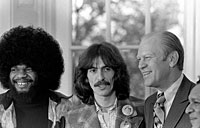 President Ford with George Harrison and Billy Preston in the Oval Office