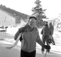 President Ford skis on Vail Mountain during a presidential Christmas vacation trip to Vail, Colorado.  ca  December 27, 1974.
