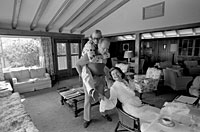 President and Mrs. Ford and Susan engage in a little family horseplay at Camp David.