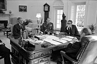 President Ford meets with Secretary of State Henry Kissinger, Army Chief of Staff General Frederick Weyand, and Graham Martin, Ambassador to Vietnam, in the Oval Office