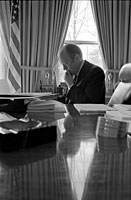 President Ford in the Oval Office. March 25, 1975.