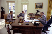 President Ford meets with Chief of Staff Donald Rumsfeld and Dick Cheney in the Oval Office