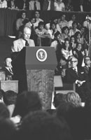 "President Ford declares that the Vietnam War ""is finished as far as America is concerned"" during his Convocation Address at Tulane University in New Orleans. Tulane University Field House  April 23, 1975."
