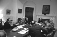 President Ford presides over a National Security Council meeting on the situation on Vietnam.  Roosevelt Room.   April 28, 1975.