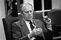 President Ford makes a point during a National Security Council meeting during the Mayaguez crisis