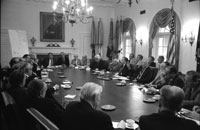 President Ford briefs the Bipartisan Congressional Leadership on the seizure of the American merchant ship S.S. Mayaguez.