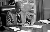 President Ford signs his Crime Message to Congress. June 19, 1975.