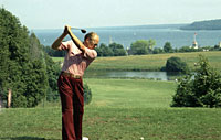President Ford plays golf during a working vacation on Mackinac Island in Michigan