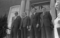 Henry Kissinger, Leonid Brezhnev, President Ford, and Andrei Gromyko outside the American Embassy, Helsinki, Finland.