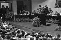 President Ford addresses delegates during the Plenary Session of the Conference on Security and Cooperation in Europe.  Finlandia Hall, Helsinki, Finland.  August 1, 1975.