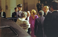 First Lady Betty Ford greets Empress Nagako as she arrives at the White House with Emperor Hirohito of Japan for a state dinner in their honor on their historic first visit to the United States. October 2, 1975.