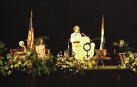 First Lady Betty Ford makes remarks at the Greater Cleveland Congress of International Women's Year (IWY). Cleveland Convention Center, Cleveland, Ohio.  October 23, 1975.