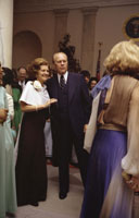 President and First Lady Betty Ford pause on the dance floor at a White House state dinner in honor of Egyptian President and Mrs. Anwar Sadat.   October 27, 1975.