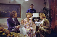 Co-producer Ed Weinberger coaches First Lady Betty Ford and Mary Tyler Moore during the filming of a Mary Tyler Moore Show episode in which Mrs. Ford played herself.  Hay-Adams Hotel, Washington, D.C.  CBS television aired the episode on January 10, 1976.  November 17, 1975.