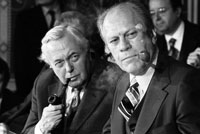 President Ford with British Prime Minister Harold Wilson during a press conference at the International Economic Summit in Rambouillet, France.  November 17, 1975.