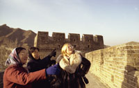 Susan Ford tours the Great Wall.