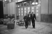 After bilateral talks Vice Premier Teng Hsiao-P'ing leads President Ford, Chief U.S. Liaison Officer George H.W. Bush and others through the Great Hall of the People.