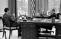 President Ford meets with CIA Director-designate George Bush in the Oval Office