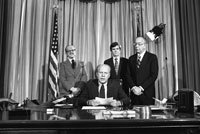 President Ford makes remarks upon signing emergency appropriations legislation for the National Swine Flu Immunization Program. April 15, 1976.