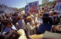 "On a campaign trip in Texas First Lady Betty Ford, aka ""First Momma,"" greets the crowd gathered at San Jacinto Battleship Park for a Bicentennial celebration.  San Jacinto, Texas.  April 21, 1976."
