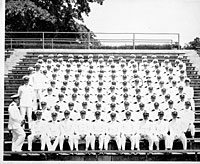 GRF with a large group of naval officers, Chapel Hill, North Carolina
