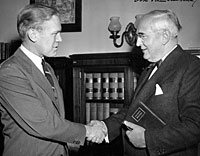 Michigan Senator Arthur Vandenburg welcomes new Congressman Gerald R. Ford