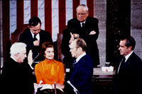 Gerald Ford takes the oath of office as Vice President, in a ceremony administered by Chief Justice Warren Burger and witnessed by Betty Ford, President Richard Nixon and a joint session of Congress. December 6, 1973.