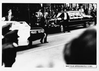 Reaction of Secret Service agents, police, and bystanders approximately three seconds after Sara Jane Moore attempted to assassinate President Gerald R. Ford in San Francisco, California.  September 22, 1975.