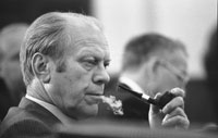 President Ford ponders the issues at a National Security Council meeting following the assassinations in Beirut of U.S. Ambassador to Lebanon Francis E. Meloy, Jr. and Economic Counselor Robert O. Waring on June 16.  June 17, 1976.