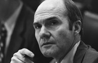 National Security Advisor Brent Scowcroft listens intently at a National Security Council meeting following the assassinations in Beirut of  Ambassador Francis E. Meloy, Jr. and Economic Counselor Robert O. Waring on June 16.  June 17, 1976.