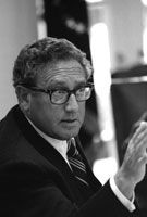 Secretary of State Henry Kissinger makes a point at a National Security Council meeting following the assassinations in Beirut of Ambassador Francis E. Meloy, Jr. and Economic Counselor Robert O. Waring on June 16.  June 17, 1976.