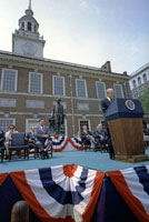 President Ford speaks at Independence Hall in a ceremonial event to mark the nation's Bicentennial.  Philadelphia, Pennsylvania.   July 4, 1976.