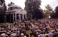 President Ford welcomes 100 new American citizens in a Bicentennial naturalization ceremony at Monticello, the historic home of Thomas Jefferson.  Charlottesville, Virginia.  July 5, 1976.