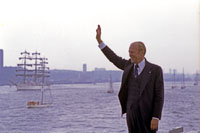 "President Ford views the ""Tall Ships"" of Operation Sail from the flight deck of USS Forrestal in New York Harbor.  July 4, 1976."