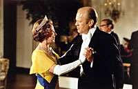 President Ford and Queen Elizabeth dance during the state dinner in honor of the Queen and Prince Philip