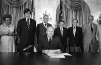 President Ford makes remarks prior to signing S.3735, authorizing the 1976 National Swine Flu Immunization Program.  August 12, 1976.