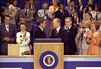 President Ford, as the Republican nominee, shakes hands with nomination foe Ronald Reagan on the closing night of the Republican National Convention.