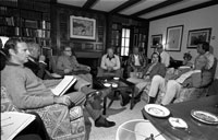 President Ford conducts a meeting to discuss the 1976 campaign while vacationing in Vail, Colorado. Fitzhugh Scott residence, Vail, Colorado. August 16, 1976.