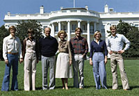 Mike, Gayle, President Ford, Mrs. Ford, Jack, Susan, and Steve on the South Lawn of the White House