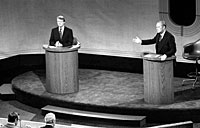 President Ford and Jimmy Carter meet at the Walnut Street Theater in Philadelphia to debate domestic policy during the first of the three Ford-Carter Debates