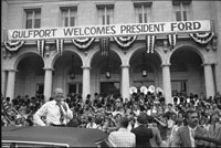 President Ford greets well-wishers during a campaign stop in Gulfport, Mississippi.   September 26, 1976.
