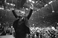 President Ford campaigns in New York before returning to Michigan for the final days of the election campaign.  Nassau County Veterans Coliseum, Hempstead, New York.  October 31, 1976.